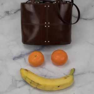 Handbags - CHOCOLATE PATENT LEATHER STRUCTURED SHOULDER BAG
